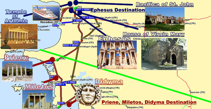 Ephesus Destination and Priene Miletos Didyma Destination Map
